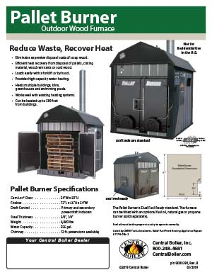 Pallet Burner flyer shows how to reduce waste and recover heat