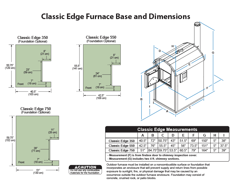 Classic Edge furnace measurements and dimensions