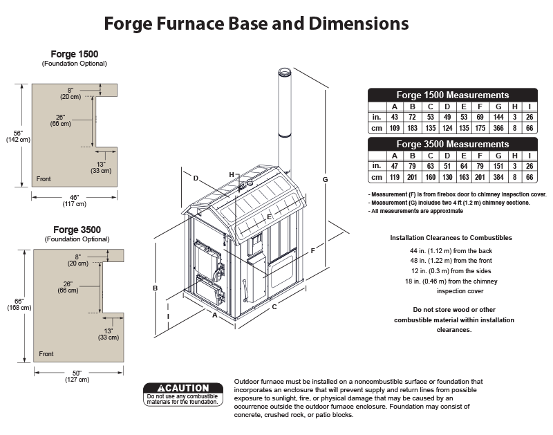 Forge outdoor coal furnace base and dimensions